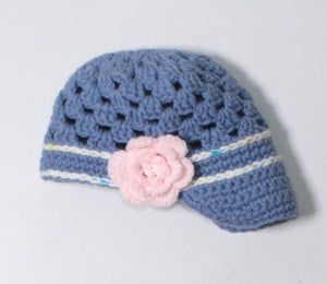 CROCHET BLUE HAT APPROX 6-12M EUC