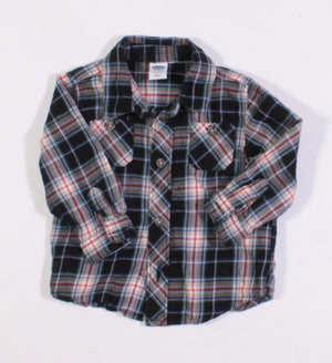 OLD NAVY PLAID LS TOP 6-12M EUC