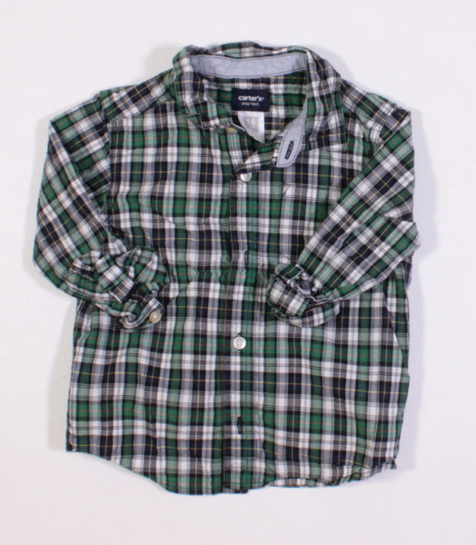 CARTERS GREEN PLAID LS TOP 18M EUC