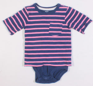 CARTERS PINK AND BLUE STRIPED ONESIE 24M VGUC