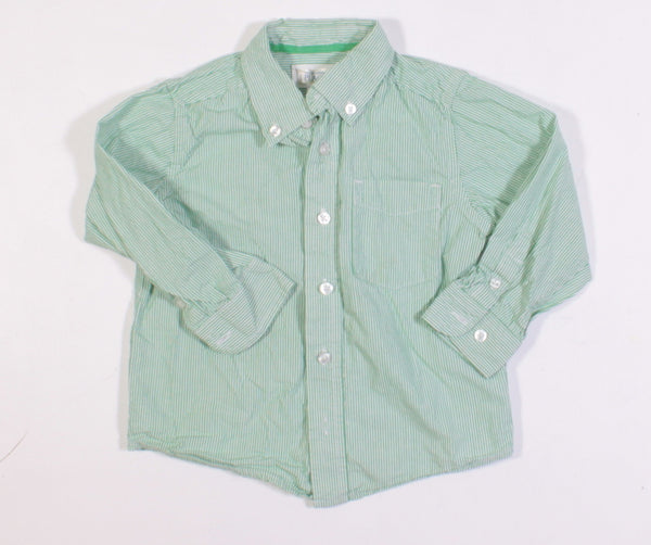 TCP GREEN AND WHITE STRIPED L/S SHIRT 24M  VGUC