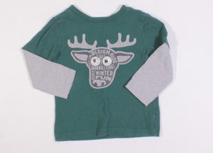 CRAZY 8 GREEN AND GREY MOOSE SHIRT 2Y VGUC