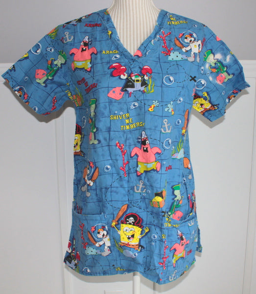 SPONGEBOB SQUAREPANTS SCRUB TOP LADIES SMALL EUC