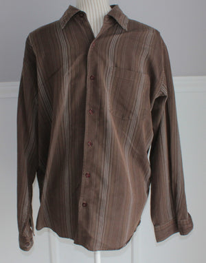 WAREHOUSE ONE BROWN LS TOP MENS XL EUC