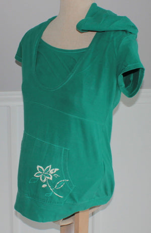 THYME GREEN HOODED TOP MATERNITY SMALL EUC
