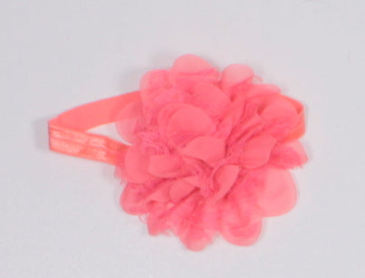 LARGE FLORAL CORAL HEADBAND EUC