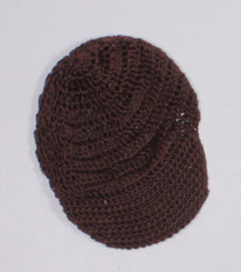 BROWN CROCHET BRIMMED HAT APPROX 0-6M EUC