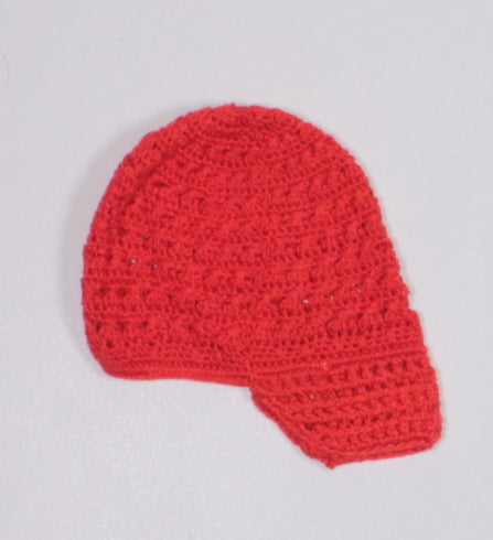 RED CROCHET BRIMMED HAT APPROX 0-6M NWOT