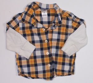 CARTERS YELLOW PLAID LS TOP 6M VGUC