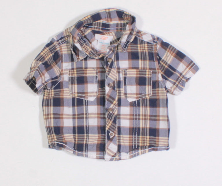 JOE FRESH SL PLAID TOP 3-6M EUC