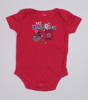 DAD ROCKS RED ONESIE 0-3M EUC