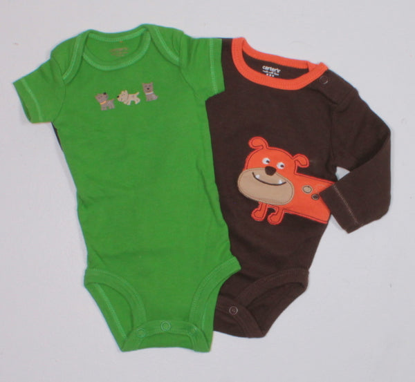 CARTERS 2 PACK ONESIES LONG AND SHORT SLEEVE NEWBORN EUC
