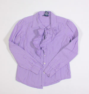 CHAPS PURPLE PINSTRIPE DRESS SHIRT 7Y EUC