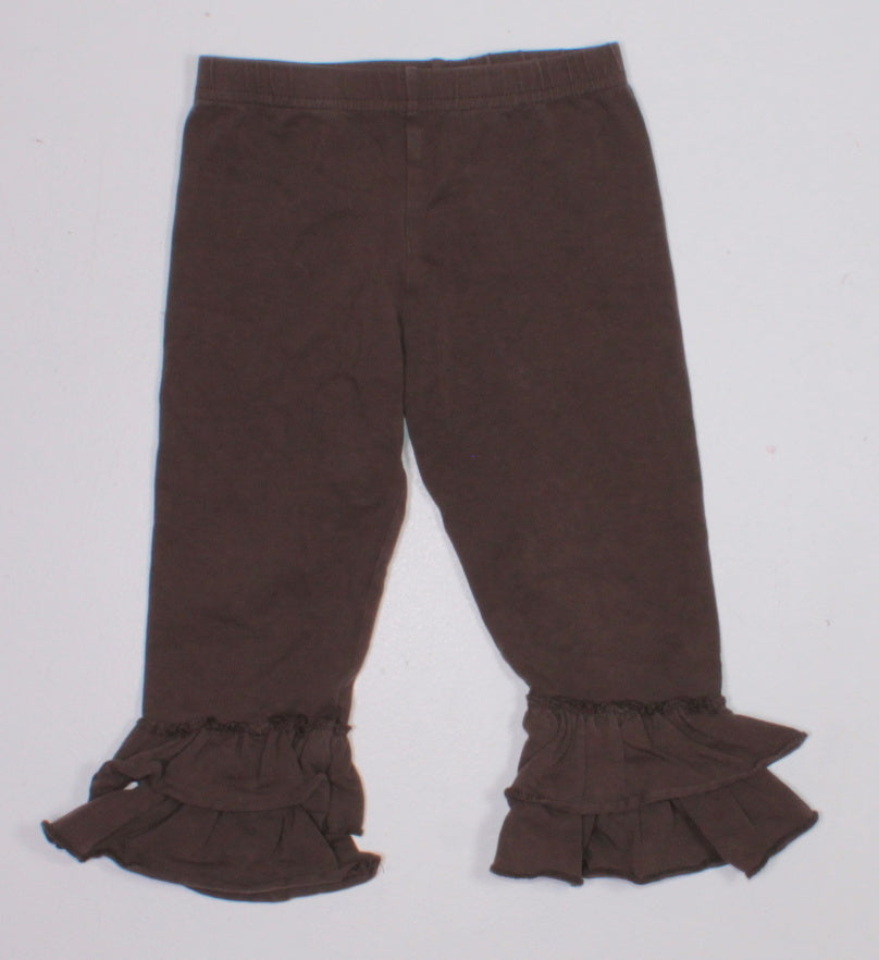 RUFFLE BOTTOM BROWN PANTS 2T EUC
