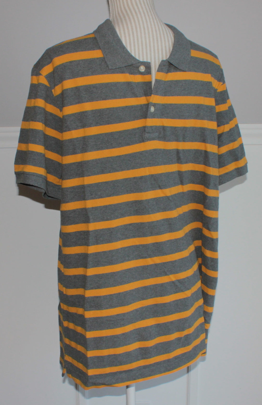 GAP GREY/YELLOW STRIPED SL TOP MENS XL EUC