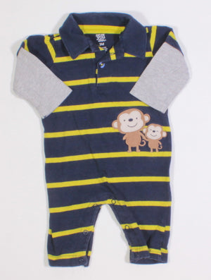 CARTERS NAVY STRIPED OUTFIT 3M EUC