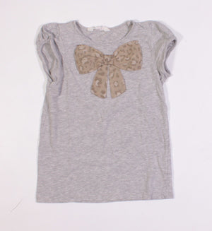 H&M GREY BOW TOP 6-8Y VGUC