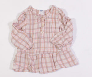 OLD NAVY PLAID BLOUSE 18-24M EUC