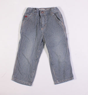 OSH KOSH BLUE STRIPED CARPENTER PANTS 24M VGUC
