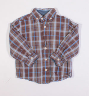 OSH KOSH BROWN PLAID LS TOP 3Y VGUC/EUC