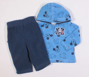 DISNEY MICKEY SOFT FLEECE BLUE OUTFIT 3-6M EUC