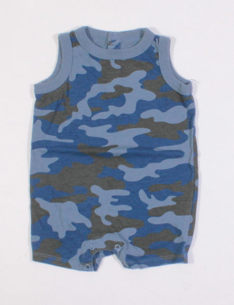 JOE FRESH BLUE CAMO ROMPER 3-6M EUC