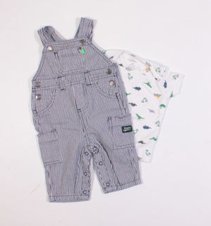 CARTERS STRIPED DINO OUTFIT 3M EUC