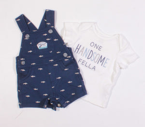 CARTERS HANDSOME FELLA SHARK OUTFIT 3M EUC