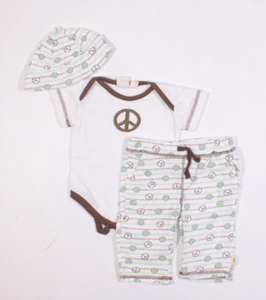 AUTHENTIC BABY ORGANIC COTTON PEACE OUTFIT 3M EUC