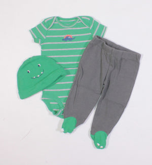 CARTERS DINO 3 PIECE OUTFIT 3M EUC