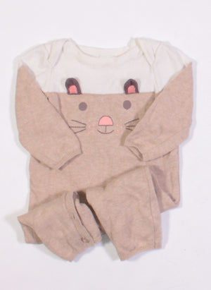 MAX STUDIO BUNNY ONE PIECE OUTFIT 3-6M EUC