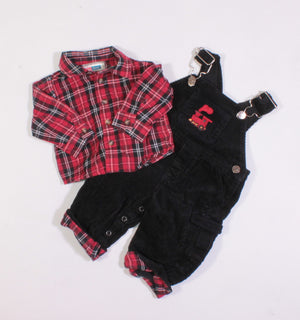 JO-JOE FASHIONS CORDUROY PLAID TRAIN OUTFIT 3-6M VGUC