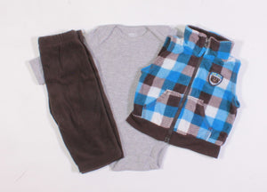 CARTERS 3 PIECE FLEECE VEST OUTFIT 3M EUC