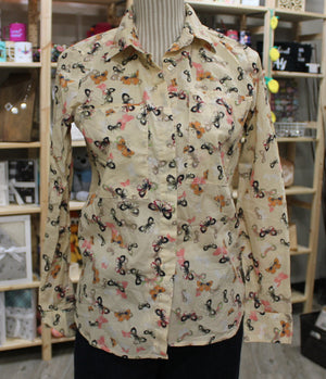 JOE FRESH BUTTERFLY BLOUSE LADIES XS EUC