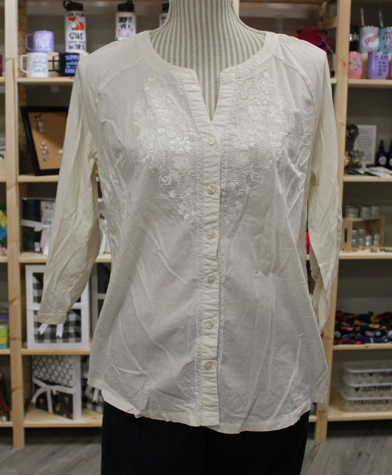 VERVE LADIES OFFWHITE BLOUSE MEDIUM VGUC/EUC