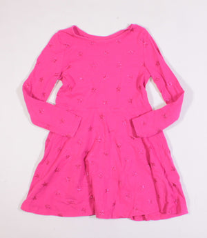 H&M STAR PINK SWING DRESS 4-6Y VGUC