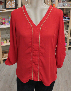 DYNAMITE RED BLOUSE LADIES SMALL EUC