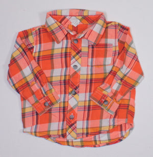 OLD NAVY ORANGE PLAID TOP 12-18M EUC