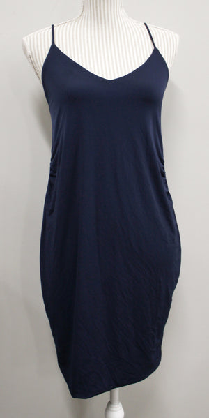 PINK BLUSH NAVY DRESS LADIES SMALL EUC