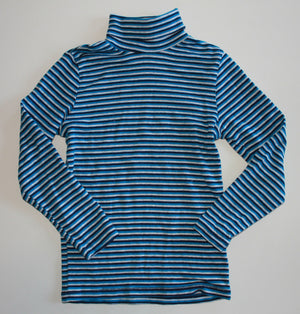 H&M SOFT BLUE STRIPED TURTLENECK TOP 6-8YR EUC