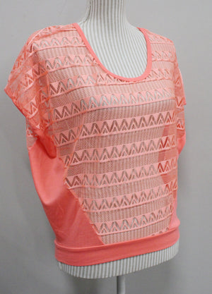 ARDENES NEON ORANGE TOP LADIES MEDIUM EUC