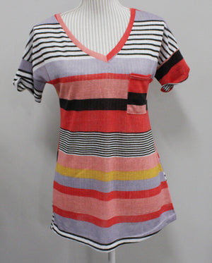 STRIPED COLOURFUL TOP LADIES SMALL EUC