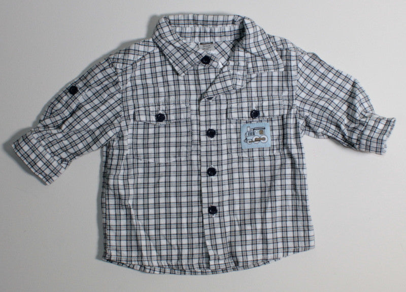 GEORGE PLAID TRAIN LONG SLEEVE TOP 3M VGUC