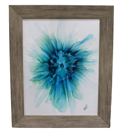 Tonic For The Soul, Framed Original 11x14 Alcohol Ink Painting- Blue Flower