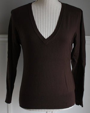 H&M BROWN LS SWEATER LADIES SIZE 10 EUC