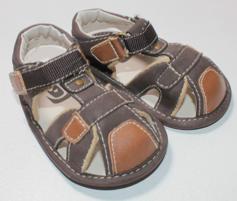 BROWN SANDALS SIZE 3-6M EUC