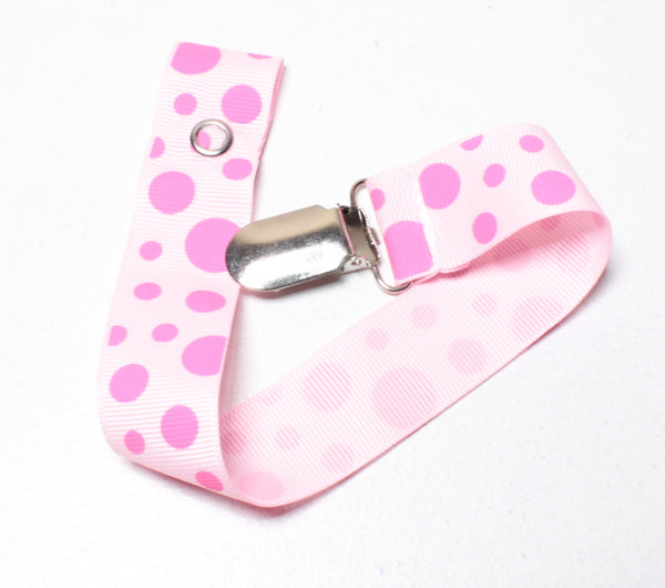 PINK POLKA DOT SOOTHER CLIP EUC
