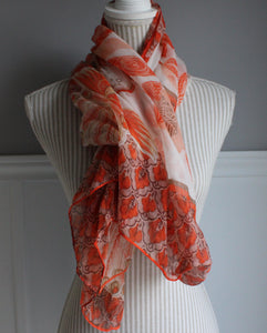ORNAGE AND BEIGE FLORAL SCARF NWT