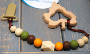 SEIC, Soother Clips with Wooden Teething Toys