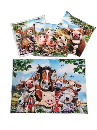 Choices, 4 Piece  Farm Animal Table Setting